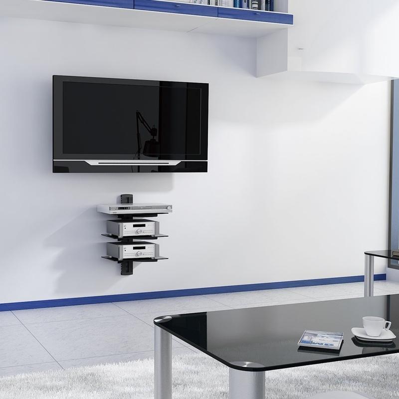 digi parts wall mount three triplel layer av shelf dvd cable box game cons 80 037. Black Bedroom Furniture Sets. Home Design Ideas