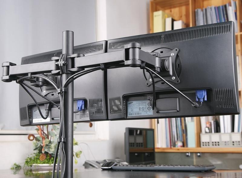 Digi Parts Dual Monitors Desk Mount Stand Fully
