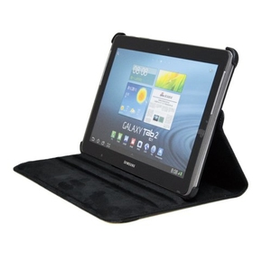 360° Rotating Black PU Leather Case for Samsung Tablet 2 10""