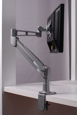 Single LCD Monitor Desk Mount Stand With Gas Spring--Silver Colo