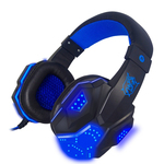 Blue LED 3.5mm Stereo LED Lighting Over-Ear Gaming Headphone Hea
