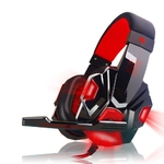 Red LED 3.5mm Stereo LED Lighting Over-Ear Gaming Headphone Head