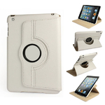360° Rotating Stand, White PU Leather Case for iPad Mini