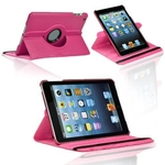 360° Rotating Stand, Hot Pink PU Leather Case for iPad Mini