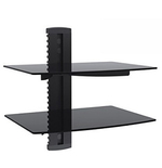 Wall Mount Two Dual Layer AV Shelf DVD Cable box, Game Console